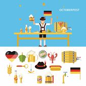 picture of fall-wheat  - Retro Octoberfest Symbols Beer Alcohol Accessories Icons Set Trendy Modern flat design Template Vector Illustration - JPG
