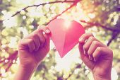 stock photo of sweethearts  - Hands holding paper heart - JPG