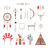 stock photo of indian chief  - Vector colorful ethnic set with dream catcher - JPG