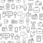 stock photo of mass media  - Seamless pattern of of flat colorful vector journalism icons - JPG