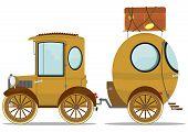 stock photo of caravan  - Funny vintage car with a caravan - JPG