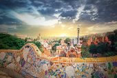 foto of gaudi barcelona  - The famous park Guell in Barcelona - JPG