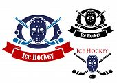 picture of sticks  - Ice hockey symbols set with puck - JPG