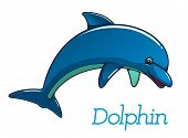 stock photo of dolphins  - Cute cartoon dolphin jumping in sea water for kids illustration and wildlife design - JPG
