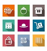 image of barcode  - Shopping business flat icons set with shopping cart wallet stand calculator purse barcode - JPG