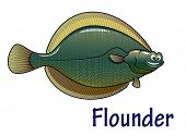 picture of flounder  - Cheerful sea flounder fish cartoon character isolated on white background - JPG