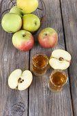 foto of cider apples  - Still life with tasty apple cider in barrel and fresh apples - JPG
