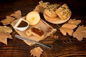 stock photo of fall-wheat  - Homemade apple butter spread on whole wheat bread - JPG