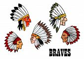 stock photo of indian chief  - ?olorful cartoon native American Indian braves heads wearing feathered headdresses, side view in profile and text Braves. For american history,  ethnic or thanksgiving design - JPG