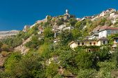 picture of albania  - Historical UNESCO protected town of Gjirocaster with a castle on the top of the hill - JPG