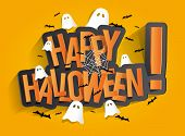 stock photo of orange  - Happy Halloween Card Design Elements On Background - JPG