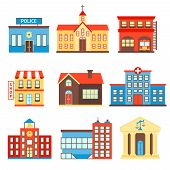 stock photo of police  - Government building icons set of police shop church isolated vector illustration - JPG