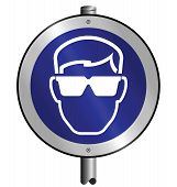 stock photo of ppe  - Mandatory goggles construction industry sign mounted on post - JPG