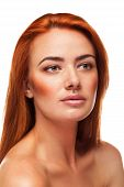 picture of freckle face  - Redhead beauty isolated over white background - JPG