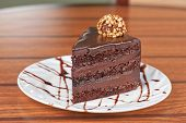 pic of fancy cake  - tasty piece of chocolate cake closeup - JPG
