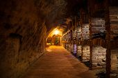 picture of wine cellar  - Long exposure of wine cellar with many kinds of wine bottles - JPG