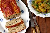 image of meatloaf  - Turkey meatloaf with roasted potatoes - JPG