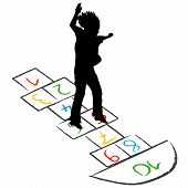 stock photo of hopscotch  - Illustration of a child silhouette jumping over hopscotch - JPG