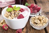 image of fruit bowl  - Bowl with fresh made Raspberry Yogurt and some fruits - JPG