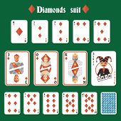 picture of joker  - Playing cards diamonds suit set joker and back isolated vector illustration - JPG