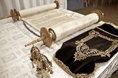 pic of torah  - the Torah the Jewish Bible laying on the table  the combination of traditional Jewish law