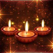 stock photo of diya  - Vector stylish diwali diya background - JPG