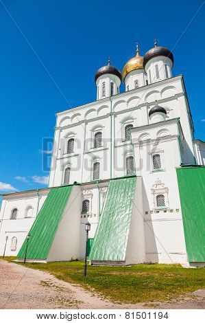 The Trinity Cathedral Located Since 1589 In Pskov Krom