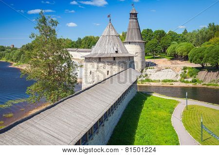 Kremlin Of Pskov, Russia. Russian Ancient Architecture
