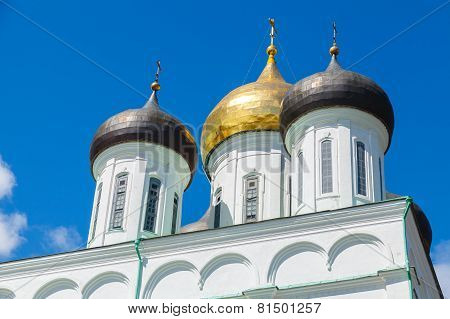 Domes Of Trinity Cathedral Located Since 1589 In Pskov