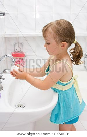 Little Girl In Bathroom
