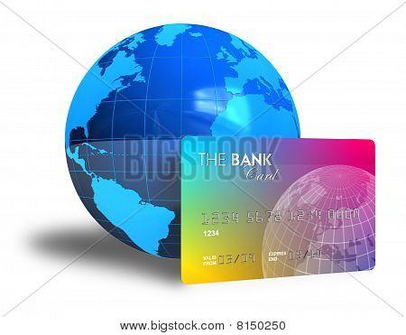 Globo de la tarjeta de crédito y de la tierra