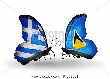Two Butterflies With Flags On Wings As Symbol Of Relations Greece And Saint Lucia
