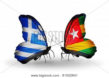 Two Butterflies With Flags On Wings As Symbol Of Relations Greece And Togo