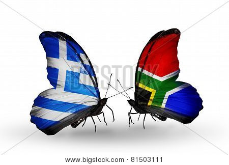 Two Butterflies With Flags On Wings As Symbol Of Relations Greece And South Africa