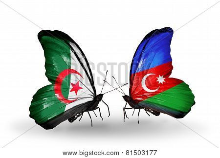 Two Butterflies With Flags On Wings As Symbol Of Relations Algeria And Azerbaijan