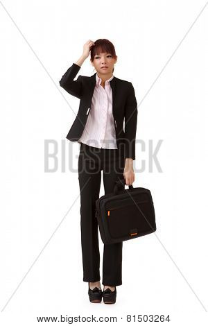 Frustrated business woman put hands on head on white background.