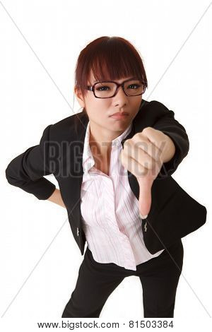 Business woman give you thumb down sign, closeup portrait on white background.