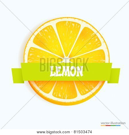 Fresh lemon slice with stripe