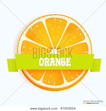 Fresh orange slice with stripe