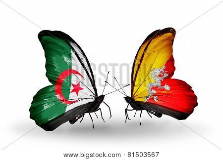 Two Butterflies With Flags On Wings As Symbol Of Relations Algeria And Bhutan