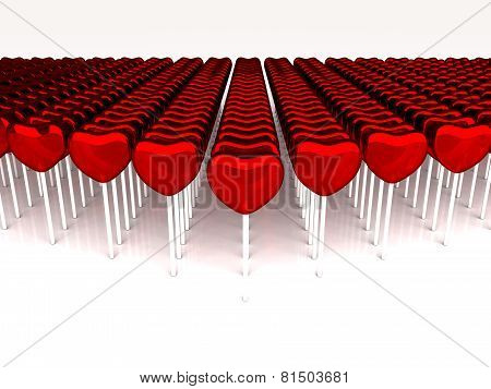 Many Red Candies On A Stick On White Background