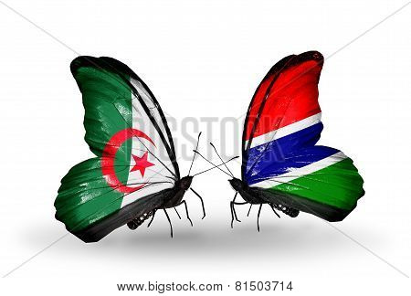Two Butterflies With Flags On Wings As Symbol Of Relations Algeria And Gambia