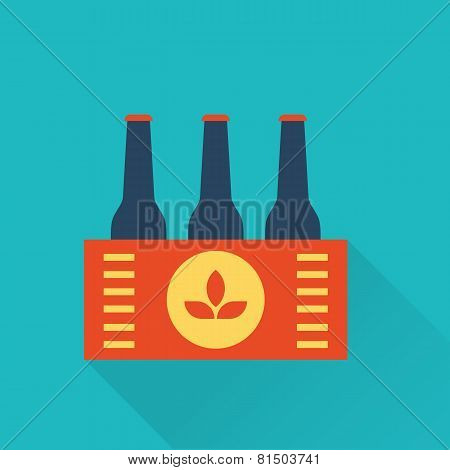 Six pack of Beer bottles in a box