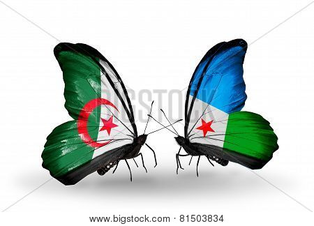 Two Butterflies With Flags On Wings As Symbol Of Relations Algeria And Djibouti