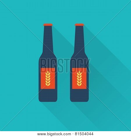 Beer bottles flat icons