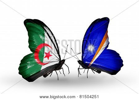 Two Butterflies With Flags On Wings As Symbol Of Relations Algeria And Marshall Islands