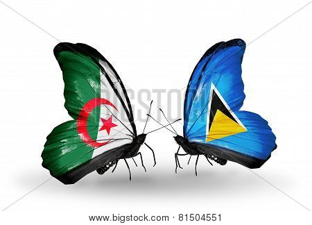 Two Butterflies With Flags On Wings As Symbol Of Relations Algeria And Saint Lucia