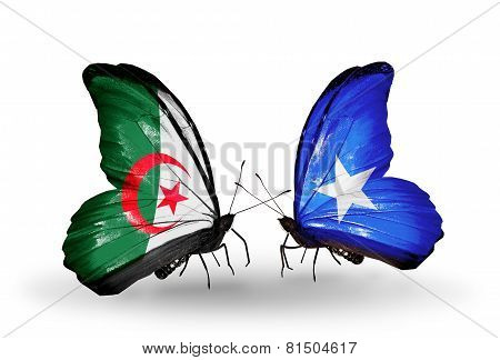 Two butterflies with flags on wings as symbol of relations Algeria and Somalia