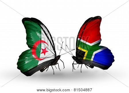 Two Butterflies With Flags On Wings As Symbol Of Relations Algeria And South Africa
