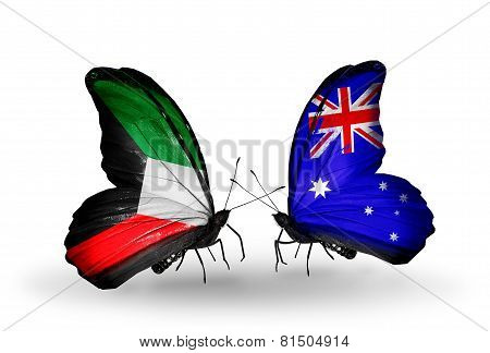 Two Butterflies With Flags On Wings As Symbol Of Relations Kuwait And Australia